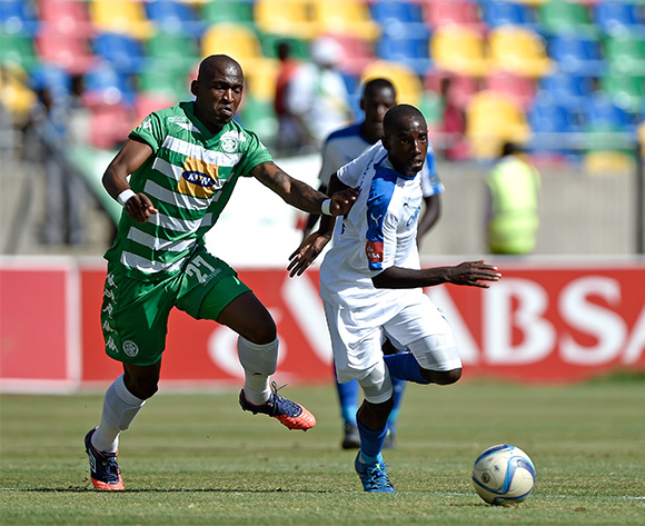Alfred Ndengane from Bloemfontein Celtic FC and ZapHaniah Mboloma from Chippa United during the Absa Premiership match between Bloemfontein Celtic FC and Chippa United at Dr Molemela Stadium on 14 February 2016.