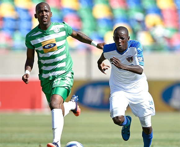 Alfred Ndengane from Bloemfontein Celtic FC and ZapHaniah Mboloma from Chippa United during the Absa Premiership match between Bloemfontein Celtic FC and Chippa United at Dr Molemela Stadium on 14 February 2016. ©Gerhard Steenkamp/Backpage Media