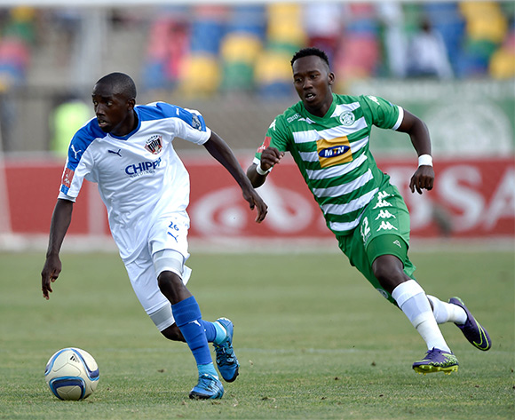 ZapHaniah Mboloma from Chippa United and Julius Likontsane from Bloemfontein Celtic FC during the Absa Premiership match between Bloemfontein Celtic FC and Chippa United at Dr Molemela Stadium on 14 February 2016.