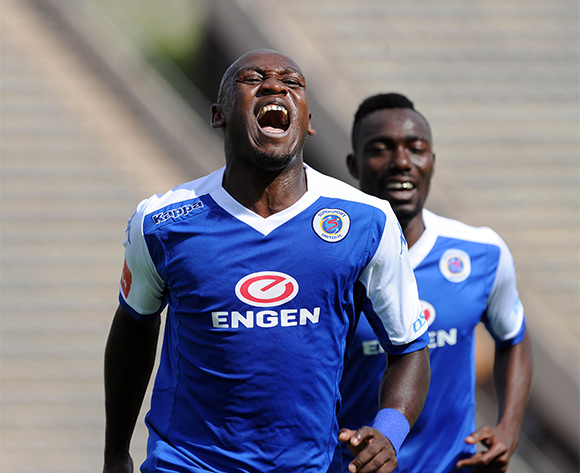 Sibusiso Khumalo of Supersport United (3) celebrates a goal with teammates during the Absa Premiership match between Supersport United and University of Pretoria on 14 February 2016 at Lucas Moripe Stadium Pic Sydney Mahlangu/ BackpagePix