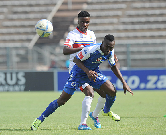 Bongani Nyathi of University of Pretoria challenges Dove Wome  of Supersport United  during the Absa Premiership match between Supersport United and University of Pretoria on 14 February 2016 at Lucas Moripe Stadium Pic Sydney Mahlangu/ BackpagePix