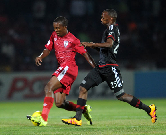 Sello Jaftha of Free State Stars is challenged by Thabo Rakhale of Orlando Pirates during the Absa Premiership match between Free State Stars and Orlando Pirates on 17 February 2016 at Goble Park Stadium Pic Sydney Mahlangu/ BackpagePix