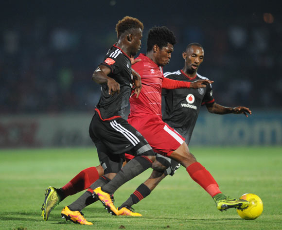 Ayanda Nkosi of Free State Stars is challenged by Edwin Gyimah of Orlando Pirates during the Absa Premiership match between Free State Stars and Orlando Pirates on 17 February 2016 at Goble Park Stadium Pic Sydney Mahlangu/ BackpagePix
