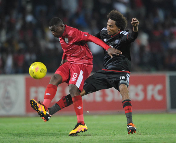 Lucky Mohomi of Free State Stars is challenged by Issa Sarr of Orlando Pirates during the Absa Premiership match between Free State Stars and Orlando Pirates on 17 February 2016 at Goble Park Stadium Pic Sydney Mahlangu/ BackpagePix