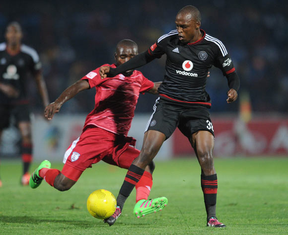 Makhehleni Makhaula of Free State Stars challenges Gift Motupa of Orlando Pirates during the Absa Premiership match between Free State Stars and Orlando Pirates on 17 February 2016 at Goble Park Stadium Pic Sydney Mahlangu/ BackpagePix