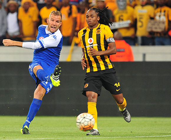 Jeremy Brockie of Supersport United fires a shot during the Absa Premiership 2015/16 football match between Kaizer Chiefs and Supersport United at Cape Town Stadium, Cape Town on 20 February 2016 ©Chris Ricco/BackpagePix