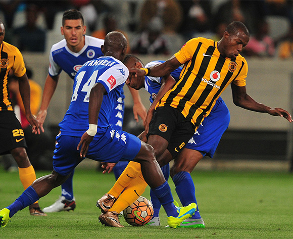 Camaldine Abraw of Kaizer Chiefs tackled by Mario Booysen of Supersport United and Mark Mayambela of Supersport United during the Absa Premiership 2015/16 football match between Kaizer Chiefs and Supersport United at Cape Town Stadium, Cape Town on 20 February 2016 ©Chris Ricco/BackpagePix