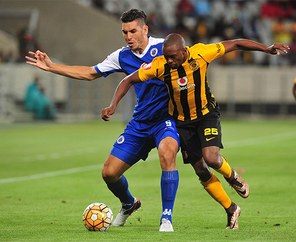 Michael Boxall of Supersport United battles for the ball with Bernard Parker of Kaizer Chiefs during the Absa Premiership 2015/16 football match between Kaizer Chiefs and Supersport United at Cape Town Stadium, Cape Town on 20 February 2016 ©Chris Ricco/BackpagePix