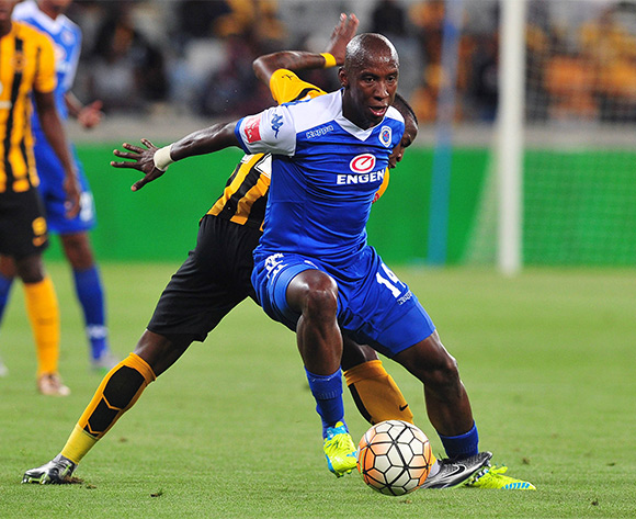 Mark Mayambela of Supersport United gets away from George Maluleka of Kaizer Chiefs during the Absa Premiership 2015/16 football match between Kaizer Chiefs and Supersport United at Cape Town Stadium, Cape Town on 20 February 2016 ©Chris Ricco/BackpagePix