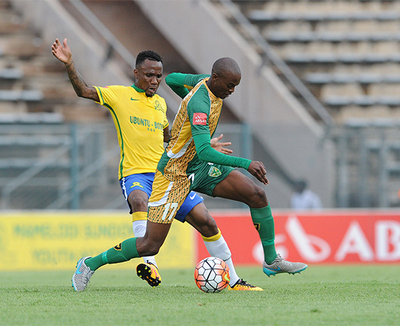 Nkanyiso Cele of Golden Arrows is challenged by Teko Modise of Mamelodi Sundowns during the Absa Premiership match between Mamelodi Sundowns and Golden Arrows on 20 February 2016 at Lucas Moripe Stadium Pic Sydney Mahlangu/ BackpagePix