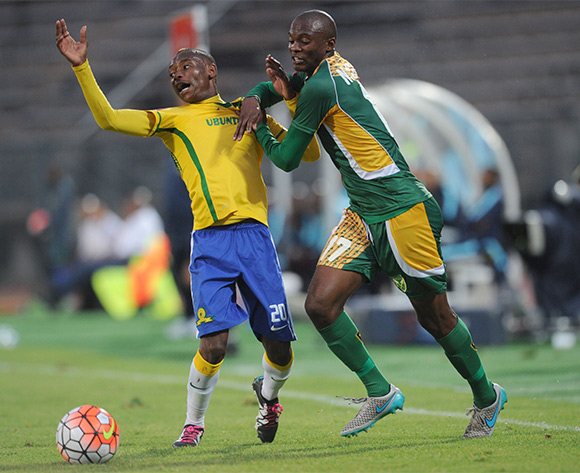 Nkanyiso Cele of Golden Arrows challenges Khama Billiat of Mamelodi Sundowns during the Absa Premiership match between Mamelodi Sundowns and Golden Arrows on 20 February 2016 at Lucas Moripe Stadium Pic Sydney Mahlangu/ BackpagePix