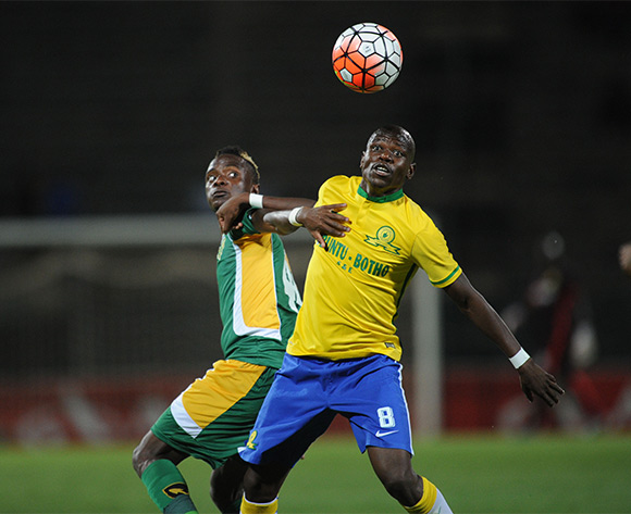 Kudakwashe Mahachi of Golden Arrows challenges Hlompho Kekana of Mamelodi Sundowns  during the Absa Premiership match between Mamelodi Sundowns and Golden Arrows on 20 February 2016 at Lucas Moripe Stadium Pic Sydney Mahlangu/ BackpagePix