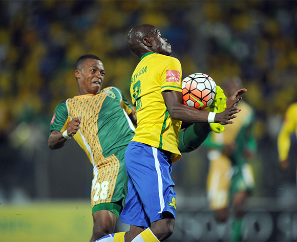 Thembela Sikhakhane of Golden Arrows challenges Hlompho Kekana of Mamelodi Sundowns  during the Absa Premiership match between Mamelodi Sundowns and Golden Arrows on 20 February 2016 at Lucas Moripe Stadium Pic Sydney Mahlangu/ BackpagePix