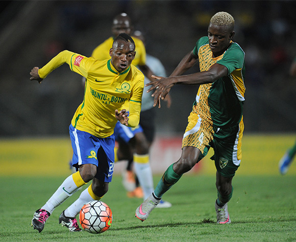 Khama Billiat  of Mamelodi Sundowns is challenged by Chris Katjiukua of Golden Arrows during the Absa Premiership match between Mamelodi Sundowns and Golden Arrows on 20 February 2016 at Lucas Moripe Stadium Pic Sydney Mahlangu/ BackpagePix