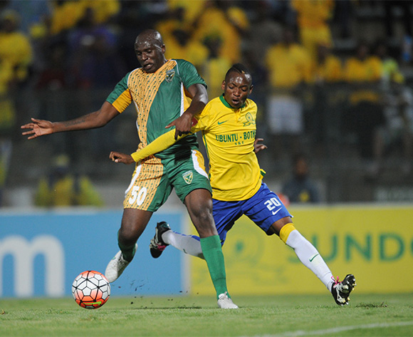 Khama Billiat  of Mamelodi Sundowns is challenged by Musa Bilankulu of Golden Arrows  during the Absa Premiership match between Mamelodi Sundowns and Golden Arrows on 20 February 2016 at Lucas Moripe Stadium Pic Sydney Mahlangu/ BackpagePix