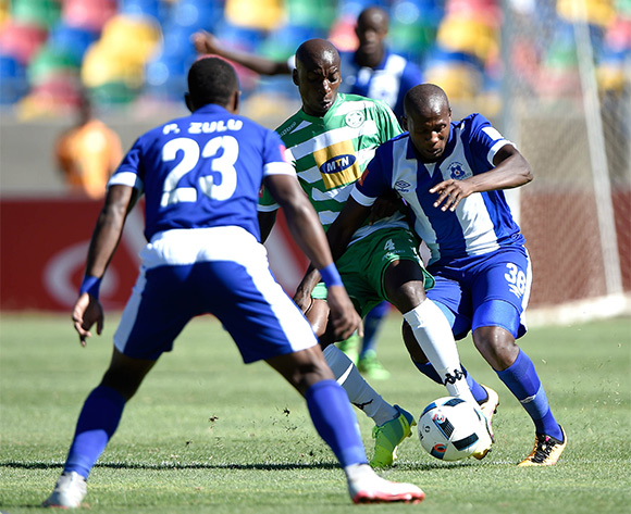 Tumelo Mogapi from Maritzburg United and Musa Nyatama from Bloemfontein Celtic FC during the Absa Premiership match between Bloemfontein Celtic FC and Maritzburg United at Dr Molemela Stadium on 21 February 2016.