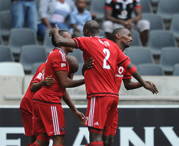 Thabo Rakhale of Orlando Pirates celebrates a goal with teammates  during the Absa Premiership match between Black Aces and Orlando Pirates  on 21 February 2016 at Mbombela Stadium Pic Sydney Mahlangu/ BackpagePix