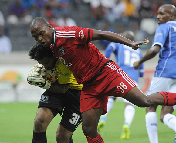 Gift Motupa of Orlando Pirates challenges Shu Aib Walters of Black Aces during the Absa Premiership match between Black Aces and Orlando Pirates  on 21 February 2016 at Mbombela Stadium Pic Sydney Mahlangu/ BackpagePix