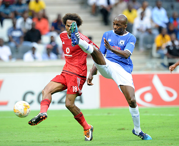 Issa Sarr of Orlando Pirates is challenged by Lehlohonolo Nonyane of Black Aces   during the Absa Premiership match between Black Aces and Orlando Pirates  on 21 February 2016 at Mbombela Stadium Pic Sydney Mahlangu/ BackpagePix