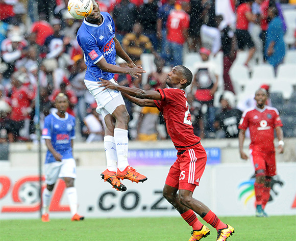 Thabo Rakhale of Orlando Pirates challenges Mpho Matsi of Black Aces   during the Absa Premiership match between Black Aces and Orlando Pirates  on 21 February 2016 at Mbombela Stadium Pic Sydney Mahlangu/ BackpagePix