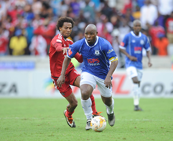 Issa Sarr  of Orlando Pirates challenges Collins Mbesuma of Black Aces during the Absa Premiership match between Black Aces and Orlando Pirates  on 21 February 2016 at Mbombela Stadium Pic Sydney Mahlangu/ BackpagePix