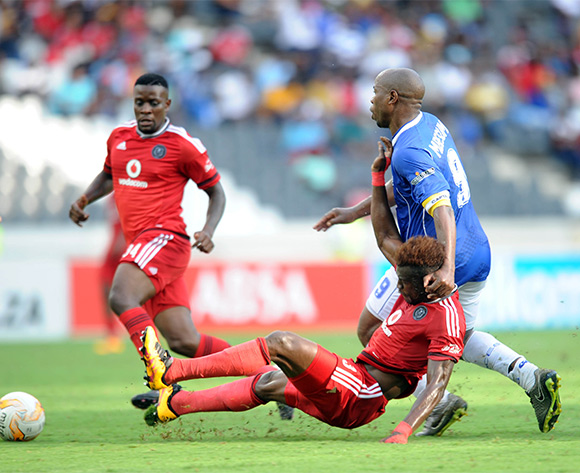 Edwin Gyimah  of Orlando Pirates challenges Collins Mbesuma of Black Aces during the Absa Premiership match between Black Aces and Orlando Pirates  on 21 February 2016 at Mbombela Stadium Pic Sydney Mahlangu/ BackpagePix