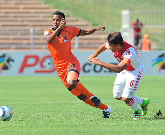 Mogamat Jacobs (l) of Polokwane City challenged by Travis Graham (r) of Ajax Cape Town during the Absa Premiership match between Polokwane City and Ajax Cape Town at the Old Peter Mokaba Stadium in Polokwane, South Africa on February 20, 2016 ©Samuel Shivambu/BackpagePix