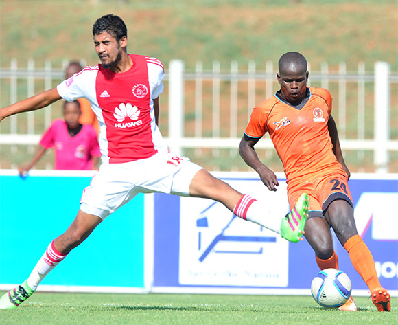 Simphiwe Hlongwane (r) of Polokwane City challenged by Abbubaker Mobara (r) of Ajax Cape Town during the Absa Premiership match between Polokwane City and Ajax Cape Town at the Old Peter Mokaba Stadium in Polokwane, South Africa on February 20, 2016 ©Samuel Shivambu/BackpagePix