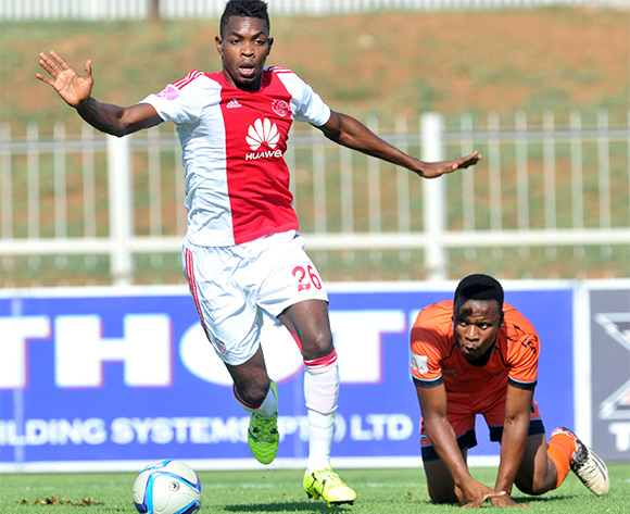 Thobani Mncwango (r) of Polokwane City challenged by Lawrence Lartey (l) of Ajax Cape Town during the Absa Premiership match between Polokwane City and Ajax Cape Town at the Old Peter Mokaba Stadium in Polokwane, South Africa on February 20, 2016 ©Samuel Shivambu/BackpagePix