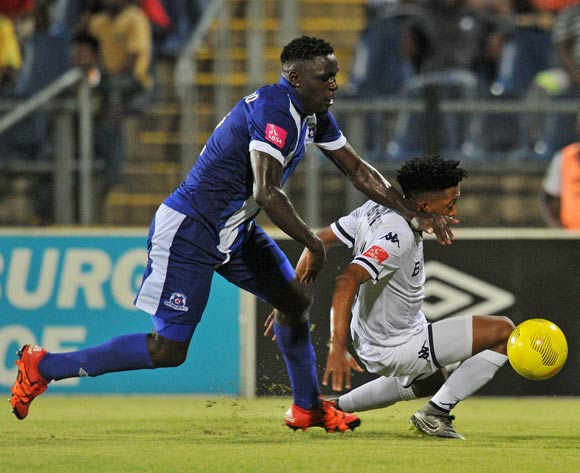 Paseka Sekese of Bidvest Wits fouled by Brian Onyango of Maritzburg United during the Absa Premiership 2015/16 match between Maritzburg United and Bidvest Wits in Harry Gwala Stadium Pietermaritzburg, Kwa-Zulu Natal on 24 February 2016©Muzi Ntombela/Backpagepix