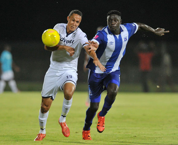 Henrico Botes of Bidvest Wits challenged by Brian Onyango of Maritzburg United during the Absa Premiership 2015/16 match between Maritzburg United and Bidvest Wits in Harry Gwala Stadium Pietermaritzburg, Kwa-Zulu Natal on 24 February 2016©Muzi Ntombela/Backpagepix
