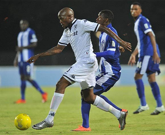 Sfiso Hlanti of Bidvest Wits challenged by Evans Rusike of Maritzburg United during the Absa Premiership 2015/16 match between Maritzburg United and Bidvest Wits in Harry Gwala Stadium Pietermaritzburg, Kwa-Zulu Natal on 24 February 2016©Muzi Ntombela/Backpagepix