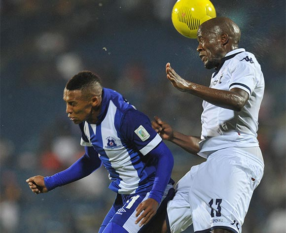 Sfiso Hlanti of Bidvest Wits challenged by Gregory Maasdorp of Maritzburg United during the Absa Premiership 2015/16 match between Maritzburg United and Bidvest Wits in Harry Gwala Stadium Pietermaritzburg, Kwa-Zulu Natal on 24 February 2016©Muzi Ntombela/Backpagepix