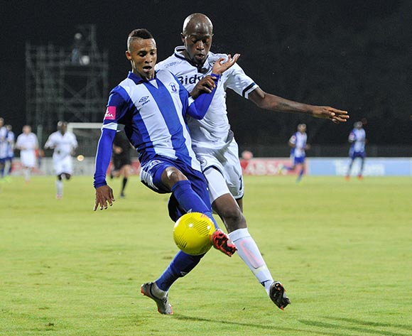Gregory Maasdorp of Maritzburg United challenged by Sfiso Hlanti of Bidvest Wits during the Absa Premiership 2015/16 match between Maritzburg United and Bidvest Wits in Harry Gwala Stadium Pietermaritzburg, Kwa-Zulu Natal on 24 February 2016©Muzi Ntombela/Backpagepix