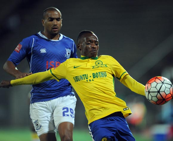 Khama Billiat of Mamelodi Sundowns is challenged by Bryce Moon of Black Aces during the Absa Premiership match between Mamelodi Sundowns and Black Aces  on 24 February 2016 at Lucas Moripe Stadium Pic Sydney Mahlangu/ BackpagePix