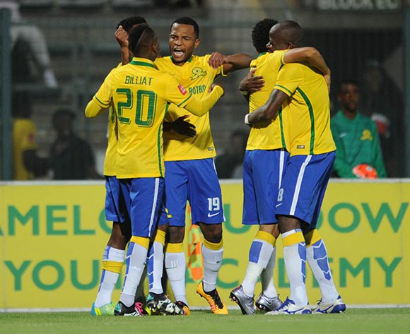Mzikayise Mashaba of Mamelodi Sundowns celebrates a goal with teammates during the Absa Premiership match between Mamelodi Sundowns and Black Aces  on 24 February 2016 at Lucas Moripe Stadium Pic Sydney Mahlangu/ BackpagePix