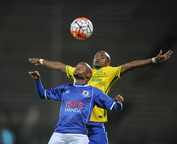 Tebogo Langerman of Mamelodi Sundowns is challenged by Aubrey Ngoma of Black Aces   during the Absa Premiership match between Mamelodi Sundowns and Black Aces  on 24 February 2016 at Lucas Moripe Stadium Pic Sydney Mahlangu/ BackpagePix