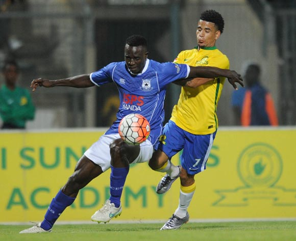 Keagan Dolly of Mamelodi Sundowns is challenged by Limbikani Mzava of Black Aces   during the Absa Premiership match between Mamelodi Sundowns and Black Aces  on 24 February 2016 at Lucas Moripe Stadium Pic Sydney Mahlangu/ BackpagePix