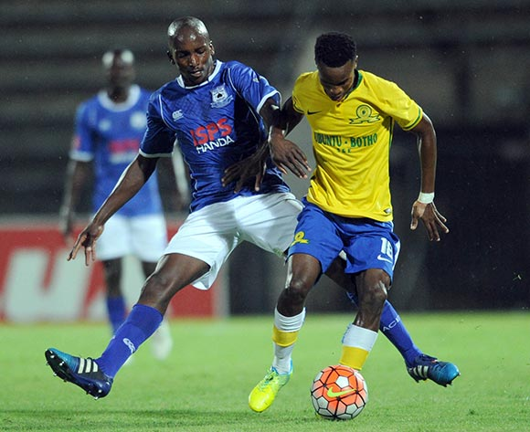 Lehlohonolo Nonyane of Black Aces challenges Themba Zwane of Mamelodi Sundowns during the Absa Premiership match between Mamelodi Sundowns and Black Aces  on 24 February 2016 at Lucas Moripe Stadium Pic Sydney Mahlangu/ BackpagePix