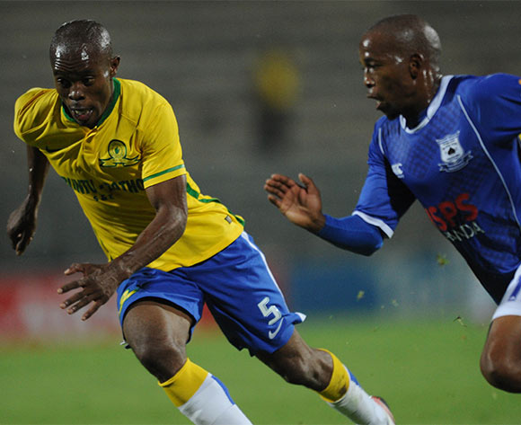 Asavela Mbekile of Mamelodi Sundowns challenges Aubrey Ngoma of Black Aces during the Absa Premiership match between Mamelodi Sundowns and Black Aces  on 24 February 2016 at Lucas Moripe Stadium Pic Sydney Mahlangu/ BackpagePix