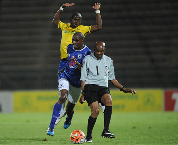 Lehlohonolo Nonyane of Black Aces is challenged by Hlompho Kekana of Mamelodi Sundowns during the Absa Premiership match between Mamelodi Sundowns and Black Aces  on 24 February 2016 at Lucas Moripe Stadium Pic Sydney Mahlangu/ BackpagePix