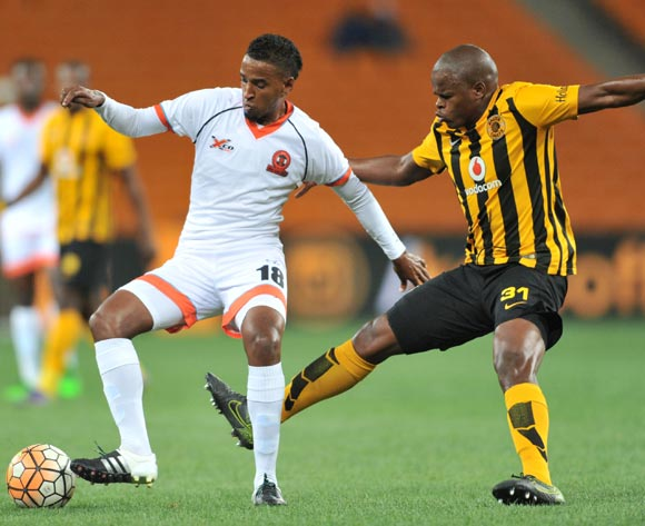 Mogamat Jacobs (l) of Polokwane City challenged by Willard Katsande (r) of Kaizer Chiefs during the Absa Premiership match between Kaizer Chiefs and Polokwane City at the FNB Stadium in Johannesburg, South Africa on February 23, 2016 ©Samuel Shivambu/BackpagePix