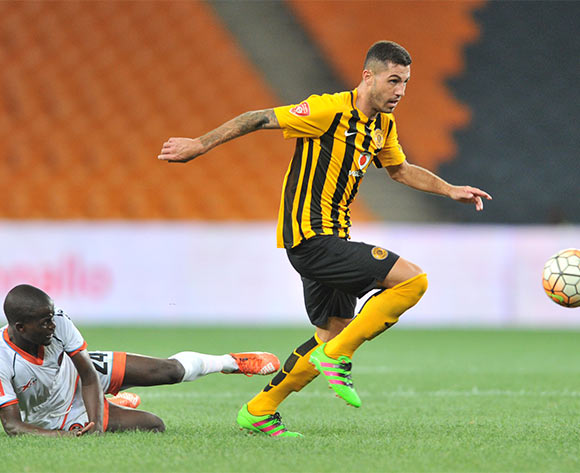 Daniel Cardoso of Kaizer Chiefs challenged by Simphiwe Hlongwane of Polokwane City during the Absa Premiership match between Kaizer Chiefs and Polokwane City at the FNB Stadium in Johannesburg, South Africa on February 23, 2016 ©Samuel Shivambu/BackpagePix