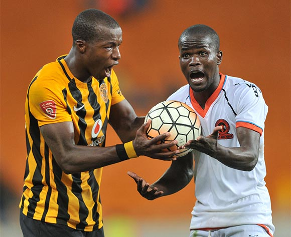Camaldine Abraw of Kaizer Chiefs exchange words with Simphiwe Hlongwane of Polokwane City during the Absa Premiership match between Kaizer Chiefs and Polokwane City at the FNB Stadium in Johannesburg, South Africa on February 23, 2016 ©Samuel Shivambu/BackpagePix
