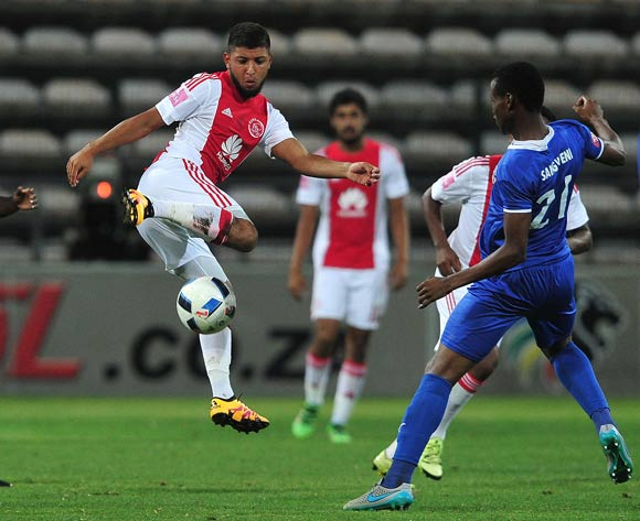 Riyaad Norodien of Ajax Cape Town challenge for ball with Thamsanqa Sangweni of Chippa United (r) and Andile Mbenyane of Chippa United (l) during the Absa Premiership 2015/16 football match between Ajax Cape Town and Chippa United at Athlone Stadium, Cape Town on 1 March 2016 ©Chris Ricco/BackpagePix
