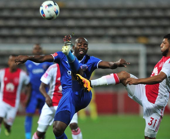 Sandile Zuke of Chippa United and Riyaad Norodien of Ajax Cape Town challenge for ball during the Absa Premiership 2015/16 football match between Ajax Cape Town and Chippa United at Athlone Stadium, Cape Town on 1 March 2016 ©Chris Ricco/BackpagePix