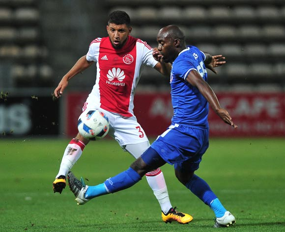 Riyaad Norodien of Ajax Cape Town tackled by Sandile Zuke of Chippa United during the Absa Premiership 2015/16 football match between Ajax Cape Town and Chippa United at Athlone Stadium, Cape Town on 1 March 2016 ©Chris Ricco/BackpagePix