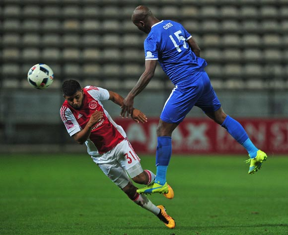 Riyaad Norodien of Ajax Cape Town battles for the ball with Ruben Cloete of Chippa United during the Absa Premiership 2015/16 football match between Ajax Cape Town and Chippa United at Athlone Stadium, Cape Town on 1 March 2016 ©Chris Ricco/BackpagePix