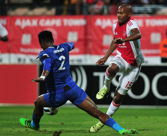 Prince Nxumalo of Ajax Cape Town tackled by James Okwuosa of Chippa United during the Absa Premiership 2015/16 football match between Ajax Cape Town and Chippa United at Athlone Stadium, Cape Town on 1 March 2016 ©Chris Ricco/BackpagePix