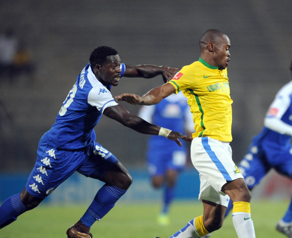 Asavela Mbekile of Mamelodi Sundowns is challenged by Kingston Nkhatha of Supersport United  during the Absa Premiership match Supersport United and Mamelodi Sundowns on 01 March 2016 at Lucas Moripe Stadium Pic Sydney Mahlangu/ BackpagePix
